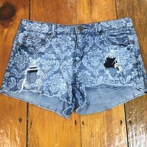 3/$27 Forever 21 Distressed Damask Jean Shorts